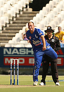 Claude Henderson in his delivery stride during the first leg of the semi-final in the Standard Bank Pro20 series between the Nashua Mobile Cape Cobras and the Nashua Titans played at Sahara Park Newlands in Cape Town, South Africa on 27 February 2011. Photo by Jacques Rossouw/SPORTZPICS