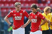 ALKMAAR - 30-08-2015, AZ - Roda JC, AFAS Stadion, 0-1, teleurstelling, AZ speler Ben Rienstra (l), AZ speler Joris van Overeem.