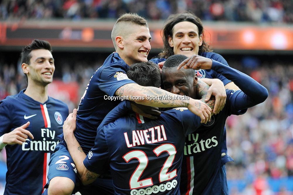 Joie Ezequiel LAVEZZI  / Blaise MATUIDI / Edinson CAVANI / Marco VERRATTI - 25.04.2015 - Paris Saint Germain / Lille - 34eme journee de Ligue 1<br />Photo : Nolwenn Le Gouic / Icon Sport