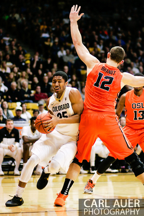 January 2nd, 2014:  Colorado Buffaloes junior guard Spencer Dinwiddie (25) drives baseline past Oregon State Beavers senior center Angus Brandt (12) in the second half of the NCAA Basketball game between the Oregon State Beavers and the University of Colorado Buffaloes at the Coors Events Center in Boulder, Colorado