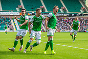 Scott Allan (#23) of Hibernian FC screams with joy after scoring a goal for Hibs during the Ladbrokes Scottish Premiership match between Hibernian and St Mirren at Easter Road Stadium, Edinburgh, Scotland on 3 August 2019.