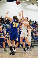 Milton's Dallas Brodhead (15) takes a jump shot during the girls basketball game between Lamoille and Milton at Milton High School on Friday night December 18, 2015 in Milton, (BRIAN JENKINS/for the FREE PRESS)