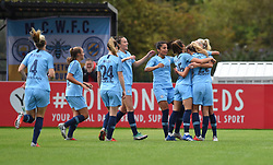 Manchester City Women celebrate as Claire Emslie's deflected shot takes them 1 nil up - Mandatory by-line: Paul Knight/JMP - 16/09/2018 - FOOTBALL - Stoke Gifford Stadium - Bristol, England - Bristol City Women v Manchester City Women - Continental Tyres Cup