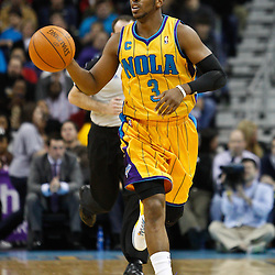 February 12, 2011; New Orleans, LA, USA; New Orleans Hornets point guard Chris Paul (3) against the Chicago Bulls during the second quarter at the New Orleans Arena.   Mandatory Credit: Derick E. Hingle