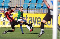 Miroslav Cvijanovic (5) of Primorje and Nik Omladic (21) of Rudar  at 6th Round of PrvaLiga Telekom Slovenije between NK Primorje Ajdovscina vs NK Rudar Velenje, on August 24, 2008, in Town stadium in Ajdovscina. Primorje won the match 3:1. (Photo by Vid Ponikvar / Sportal Images)