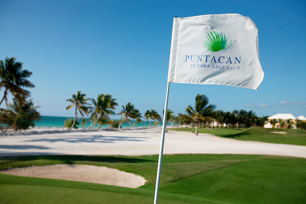 Punta Cana, Dominican Republic - April 11: A pin flag waves in the breeze on the Punta Cana Golf Course at the Punta Cana resort, in the Dominican Republic, April 11, 2007.