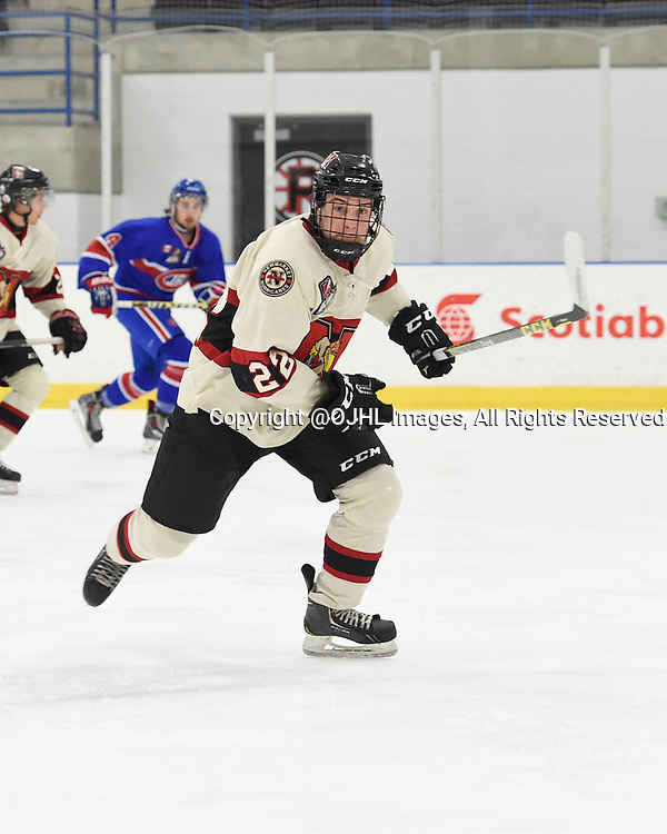 TORONTO, ON - Oct 17, 2015 : Ontario Junior Hockey League game action between Newmarket and Toronto, Nicholas Favaro #22 of the Newmarket Hurricanes skates up the ice during the first period.<br /> (Photo by Andy Corneau / OJHL Images)