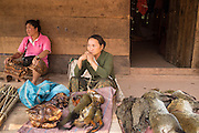 "15 MARCH 2013 - OUDOMXAY, LAOS: Women sell ""bush meat,"" small game animals killed by hunters, at a road side stand on Highway 13 in rural Laos. Bush meat is technically illegal but still very popular. Some of it is expensive - about 300,000 Lao Kip or $35US for one animal.   PHOTO BY JACK KURTZ"