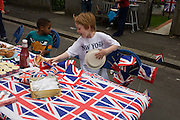 Serviettes (napkins) blowing away during a neighbourhood street party in Dulwich, south London celebrating the Diamond Jubilee of Queen Elizabeth. A few months before the Olympics come to London, a multi-cultural UK is gearing up for a weekend and summer of pomp and patriotic fervour as their monarch celebrates 60 years on the throne and across Britain, flags and Union Jack bunting adorn towns and villages.