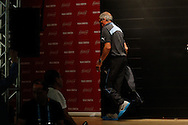 Uruguay manager Oscar Tabarez leaves the room after the Uruguay press conference at Maracana Stadium, Rio de Janeiro, Brazil, ahead of their last 16 FIFA World Cup 2014 match against Colombia<br /> Picture by Andrew Tobin/Focus Images Ltd +44 7710 761829<br /> 27/06/2014