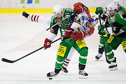 02.11.2012, Hala Tivoli, Ljubljana, SLO, EBEL, HDD Telemach Olimpija Ljubljana vs EC Red Bull Salzburg, 18. Runde, in picture Jan Mursak (HDD Telemach Olimpija, #39) and Thomas Raffl (EC Red Bull Salzburg, #5) during the Erste Bank Icehockey League 18th Round match between HDD Telemach Olimpija Ljubljana and EC Red Bull Salzburg at the Hala Tivoli, Ljubljana, Slovenia on 2012/11/02. (Photo By Matic Klansek Velej / Sportida)