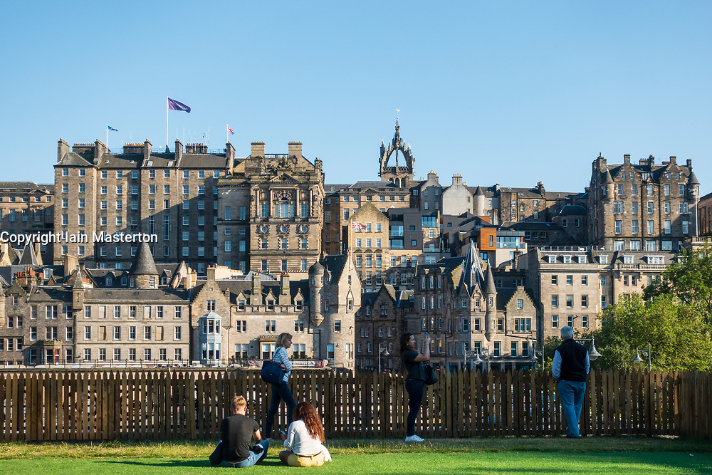 Skyline of Edinburgh Old Town from Waverley shopping mall in Princes Street, Edinburgh, Scotland, UK