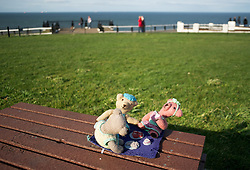 © Licensed to London News Pictures. 16/03/2012..Saltburn Pier, Saltburn, Cleveland..The 50 foot knitted Olympic scarf depicting athletes taking part in various sporting activities and which appeared mysteriously on the Victorian pier at Saltburn recently has had some of the figures ripped from the scarf in an act of mindless vandalism...The Teddy Bears picnic, one of the first knitted displays to appear on the upper promenade was also vandalised and had two of the knitted figures ripped from the display. This picture shows what the small display originally looked like before it was vandalised...A local resident has made it known on a Facebook forum that they found the items lying on the floor around the display and have held onto them for safe keeping until they can be repaired...Many of the figures however still remain as part of the display on the pier...Photo credit : Ian Forsyth/LNP