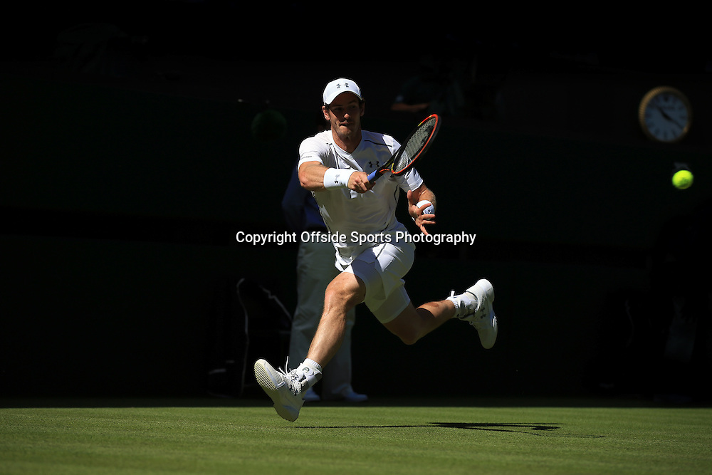 30 June 2015 - Wimbledon (Day 2) - Andy Murray (GBR) in action during his 1st round match against Mikhail Kukushkin (KAZ) - Photo: Marc Atkins / Offside.