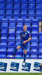 BIRKENHEAD, ENGLAND - Sunday, October 29, 2017: Leicester City's Sam Hughes celebrates scoring an injury time winning goal to seal a 2-1 victory during the Under-23 FA Premier League 2 Division 1 match between Liverpool and Leicester City at Prenton Park. (Pic by David Rawcliffe/Propaganda)
