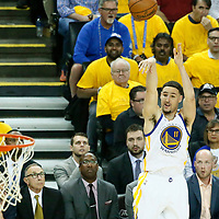 01 June 2017: Golden State Warriors guard Klay Thompson (11) takes a jump shot during the Golden State Warriors 113-90 victory over the Cleveland Cavaliers, in game 1 of the 2017 NBA Finals, at the Oracle Arena, Oakland, California, USA.