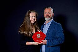 NEWPORT, WALES - Saturday, May 27, 2017: Jasmin Rowley and family with her Under-16 Wales cap at the Celtic Manor Resort. (Pic by David Rawcliffe/Propaganda)