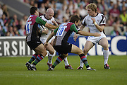 Twickenham, GREAT BRITAIN, Tigers, Paul BURKE,  tackled by Simon KOEGH, during the first half of the Guinness Premiership match, NEC Harlequins and Leicester Tigers, at the Twickenham Stoop Stadium, ENGLAND, 23/09/2006. [Photo, Peter Spurrier/Intersport-images].