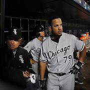 NEW YORK, NEW YORK - May 31:  Jose Abreu #79 of the Chicago White Sox in the dugout preparing to bat during the Chicago White Sox Vs New York Mets regular season MLB game at Citi Field on May 31, 2016 in New York City. (Photo by Tim Clayton/Corbis via Getty Images)