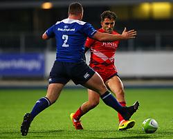 Jack Wallace of Bristol United kicks past Bryan Byrne of Leinster - Mandatory by-line: Ken Sutton/JMP - 15/12/2017 - RUGBY - Donnybrook Stadium - Dublin,  - Leinster 'A' v Bristol United -