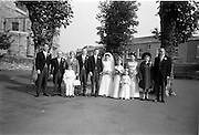 "16/09/1967<br /> 09/16/1967<br /> 16 September 1967<br /> Wedding of Mr Francis W. Moloney, 28 The Stiles Road, Clontarf and Ms Antoinette O'Carroll, ""Melrose"", Leinster Road, Rathmines at Our Lady of Refuge Church, Rathmines, with reception in Colamore Hotel, Coliemore Road, Dalkey. Image shows (l-r): unnamed gentleman; Mr Dudley O'Carroll; rs Patrick Moloney; Bestman, Michael Power; the Bride and Groom; Bridesmaid, flower girl; Matron of Honour Gladys McGloughlin; Mrs Dudley O'Carroll and Mr Patrick Moloney."
