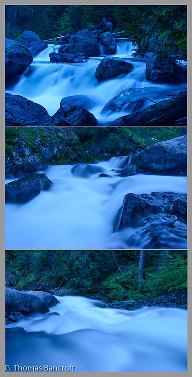 Twilight settled along Ingalls Creek in  the Alpine Wilderness Area.  The water rushed from top to bottom across these three photographs, dropping almost 30 feet over a short distance.