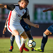 09 September 2018: San Diego State Aztecs forward Robby Jacocs (11) battles UC Irvine defender Christian Gutierrez (27) for the ball in the first half. The San Diego State men's soccer team beat UC Irvine in overtime 2-1 Sunday afternoon at the SDSU Sports Deck.