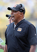 Cincinnati Bengals head coach Marvin Lewis yells out from the sideline during the 2016 NFL week 2 regular season football game against the Pittsburgh Steelers on Sunday, Sept. 18, 2016 in Pittsburgh. The Steelers won the game 24-16. (©Paul Anthony Spinelli)
