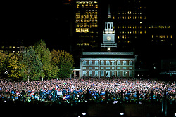 Crowd at the final rally of Democratic Presidential candidate Hillary Clinton, on November 7, 2016, at Independence Hall, in Philadelphia, PA., USA. The same city her campaign started in, also provides the final stage for Clinton as she is joined by her family and Michelle and Barrack Obama.