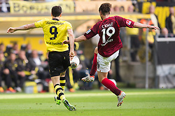 19.10.2013, Signal Iduna Park, Dortmund, GER, 1. FBL, Borussia Dortmund vs Hannover 96, 9. Runde, im Bild Zweikampf zwischen Robert Lewandowski (#9 Dortmund), Christian Schulz (#19 Hannover)  // during the German Bundesliga 9th round match between Borussia Dortmund and Hannover 96 Signal Iduna Park in Dortmund, Germany on 2013/10/19. EXPA Pictures &copy; 2013, PhotoCredit: EXPA/ Eibner-Pressefoto/ Kurth<br /> <br /> *****ATTENTION - OUT of GER*****