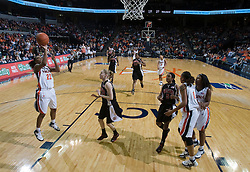 Virginia guard Monica Wright (22) shoots a jump shot against Maryland.  The Virginia Cavaliers women's basketball team fell to the #4 ranked Maryland Terrapins 74-62 at the John Paul Jones Arena in Charlottesville, VA on January 18, 2008.