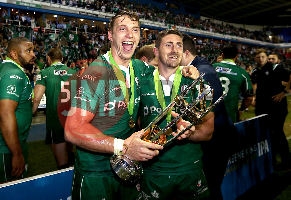 Alex Lewington of London Irish and Brendan McKibbin of London Irish with the Greene King IPA Championship trophy - Mandatory by-line: Robbie Stephenson/JMP - 24/05/2017 - RUGBY - Madejski Stadium - Reading, England - London Irish v Yorkshire Carnegie - Greene King IPA Championship Final 2nd Leg