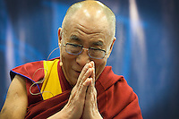 The Dalai Lama gestures as he speaks to students, faculty, and guests at Florida Atlantic University in Boca Raton, on Wednesday, February 24, 2010. Staff photo/Cristobal Herrera