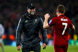 Liverpool manager Jurgen Klopp and James Milner of Liverpool celebrate victory over Barcelona to make the Champions League Final - Mandatory by-line: Robbie Stephenson/JMP - 07/05/2019 - FOOTBALL - Anfield - Liverpool, England - Liverpool v Barcelona - UEFA Champions League Semi-Final 2nd Leg