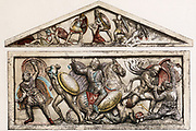 Alexander Sarcophagus' 4th century BC showing battle scenes of time of Alexander the Great. Mounted figure is the general Hephaeistion. Soldiers second left and second right wearing Phrygian caps.