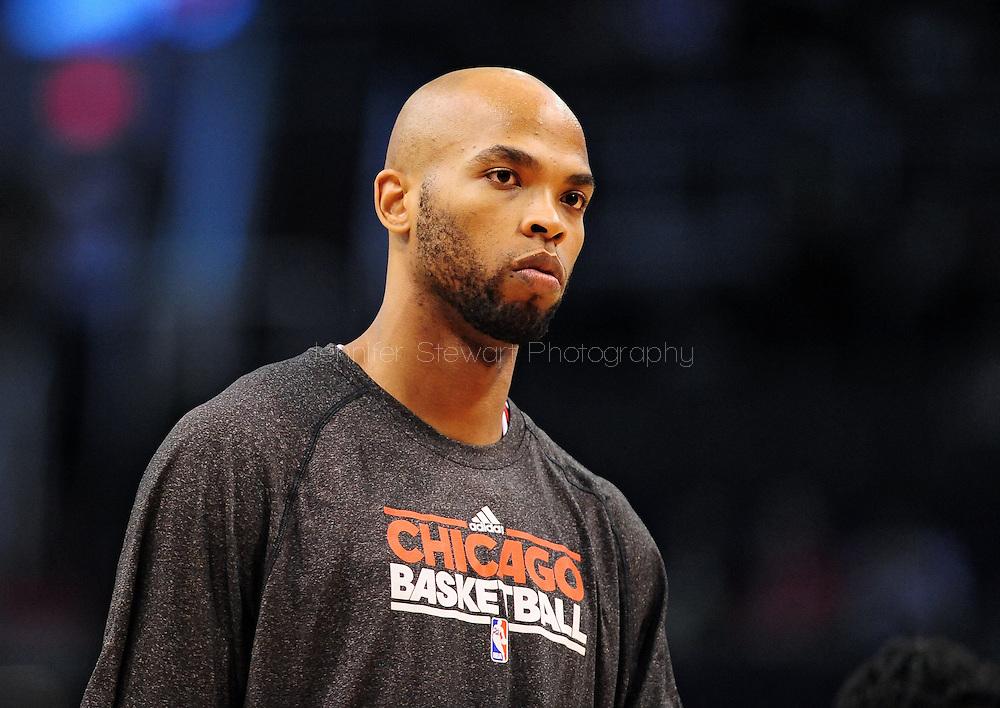 Nov. 14, 2012; Phoenix, AZ, USA; Chicago Bulls forward Taj Gibson (22)  warms up prior to the game against the Phoenix Suns at the US Airways Center.  The Bulls defeated the Suns 112-106 in overtime. Mandatory Credit: Jennifer Stewart-USA TODAY Sports.
