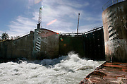 St. Lawrence, nws, lynn, 11.-The gates to lock number 3 at the Welland Canal open to let the ship CSL Laurentien out Saturday August 6, 2005.  As the gates open water cushes out lowing the ship.