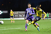 Oxford United midfielder Tarique Fosu-Henry  (11) takes a shot at goal  under pressure from Shrewsbury Town midfielder Josh Laurent (28) during the EFL Sky Bet League 1 match between Oxford United and Shrewsbury Town at the Kassam Stadium, Oxford, England on 7 December 2019.