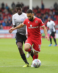 Erhun Oztumer of Walsall is closed down by Leonardo Da Silva Lopes of Peterborough United - Mandatory by-line: Joe Dent/JMP - 16/09/2017 - FOOTBALL - Banks's Stadium - Walsall, England - Walsall v Peterborough United - Sky Bet League One