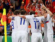 21-06-2008: Voetbal: Nederland-Rusland: Basel <br /> Rusland komt op voorsprong door een doelpunt van Pavlyuchenko<br /> Foto: Geert van Erven