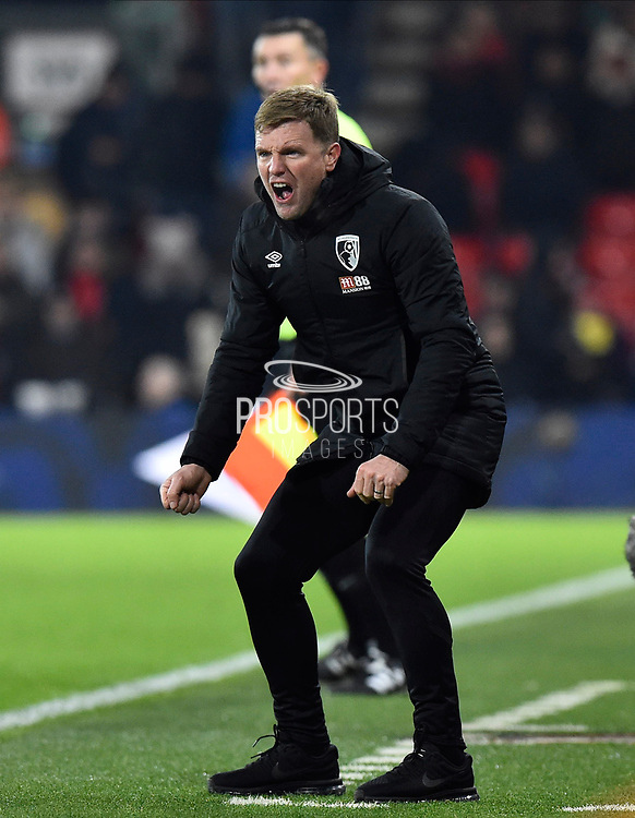 AFC Bournemouth manager Eddie Howe in the technical area during the Premier League match between Bournemouth and Brighton and Hove Albion at the Vitality Stadium, Bournemouth, England on 21 January 2020.