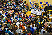 A large crowd of Democrats and delegates gathers in Seattle, Washington for a local caucus.