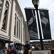 Fans arrive at Yankee Stadium before the New York Yankees Vs Toronto Blue Jays season opening day at Yankee Stadium, The Bronx, New York. 6th April 2015. Photo Tim Clayton