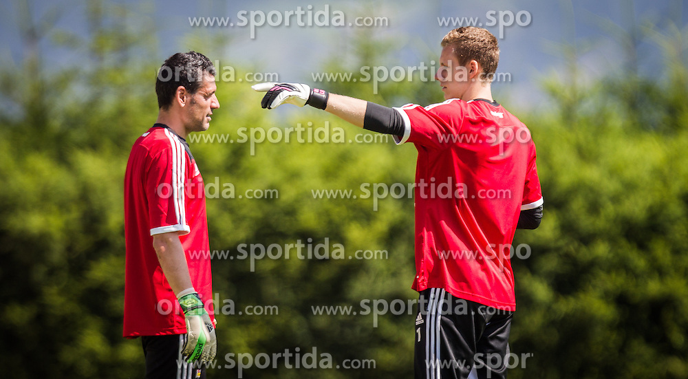 17.07.2013, Alois Latini Stadion, Zell am See, AUT, Bayer 04 Leverkusen Trainingslager, im Bild Palop, (Bayer 04 Leverkusen) und Bernd Leno, (Bayer 04 Leverkusen) // during a Trainingssession of the German Bundesliga Club Bayer 04 Leverkusen at the Alois Latini Stadium, Zell am See, Austria on 2013/07/17. EXPA Pictures © 2013, PhotoCredit: EXPA/ Juergen Feichter
