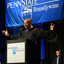 Staff photos by Tom Kelly IV<br /> The Spring Commencement at Penn State University's Brandywine Campus was held Saturday morning, May 9, 2015 in the Commons / Athletic Center at the school in Middletown Township.  Here, R. Seth Williams, the District Attorney for the City of Philadelphia gives the commencement address.