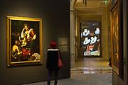 L'Ultimo Caravaggio, eredi e nuovi maestri (Last Caravaggio, Heirs and new Masters) exhibition at Gallerie d'Italia, Intesa Sanpaolo Museum, in Milan on November 30, 2017. In the picture (left) Madonna con il bambino e San Giovannino, oil on canvas by Bernardo Strozzi. © Carlo Cerchioli