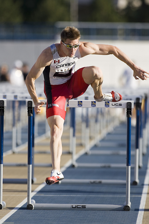 13 July 2007 (Windsor--Canada) -- The 2007 Canadian National Track and Field Championships...Jared Mac Leod competing in the men's 110m hurdles heats.