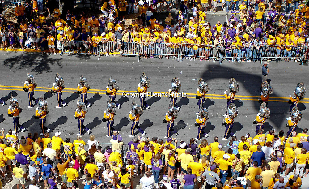 October 8, 2011; Baton Rouge, LA, USA;  The LSU Tigerband performs outside prior to kickoff of a game between the LSU Tigers and the Florida Gators at Tiger Stadium.  Mandatory Credit: Derick E. Hingle-US PRESSWIRE / © Derick E. Hingle 2011