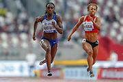 Dina Asher-Smith (Great Britain), 100 Metres Women, Round 1 Heat 4, during the 2019 IAAF World Athletics Championships at Khalifa International Stadium, Doha, Qatar on 28 September 2019.