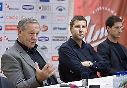 Head coach Zvonimir Noka Serdarusic, Tomaz Jersic and Roman Pungartnik at press conference of Slovenian men National Handball Team, on October 2, 2009, RZS, Ljubljana, Slovenija. (Photo by Vid Ponikvar / Sportida)